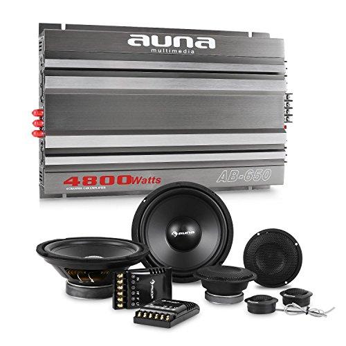 "auna CS-Comp-8 Car-HiFi-Set 6-Kanal-Endstufe + Lautsprecher Set (2 x 1200 Watt Subwoofer, 2 x 1200 Watt Mitteltöner, 2 x 1,57\""-Tweeter, inkl. Kabelage und Montagematerial) Grau"