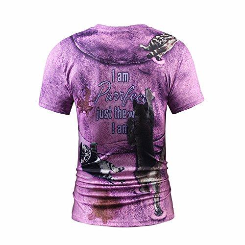 Yonbii Herren Unisex Rundhals Casual Strassenmode T-Shirt Tops-1