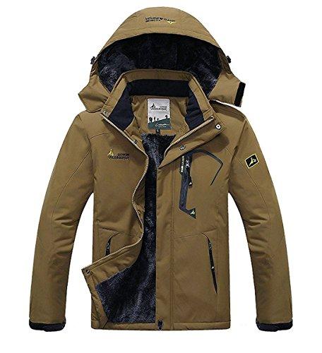 Minetom uomo invernale impermeabile tattico giacca softshell con cappuccio militare altamente resistente all'acqua outdoor cappotto caffè eu s