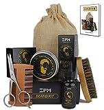 Onirev kit barbe entretien et soins pour homme, complet 60 g Baume, 30 ml huile à barbe, brosse, ciseaux à moustaches, peine et sac Coffret cadeau père, homme