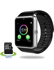 Smart Watch, Luluking Sweatproof Smart Watch Bluetooth Smart-Uhr-Telefon mit SIM-Karten-Slot / TF für Android HTC Sony LG Google Pixel / Pixel XL Smartphone Umfassen 16GB Karte (Silver)
