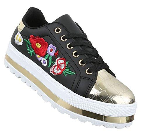 Damen Freizeitschuhe Schuhe Sneakers Sportschuhe Turnschuhe Schwarz