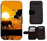 Hülle Galaxy S3 Hülle Galaxy S3 Neo Schutzhülle Flip Cover Case Samsung Galaxy S3 / S3 Neo (1524 Elefant Sonnenuntergang Afrika)