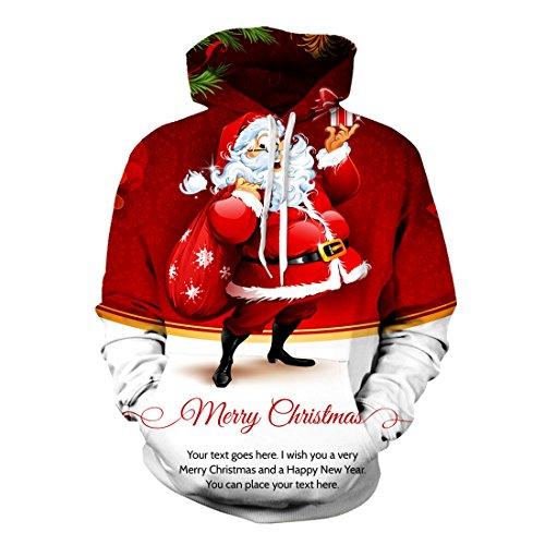 Uideazone Mens di Natale con cappuccio Felpe 3D Stampa Babbo Natale Pullover superiore Rosso XL