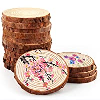 Caydo 15 Pieces Natural Wood Slices 3.9-4.3 Inch, DIY Craft Wood Circle for Coasters, Rustic Wedding Decorations and Home Decorations