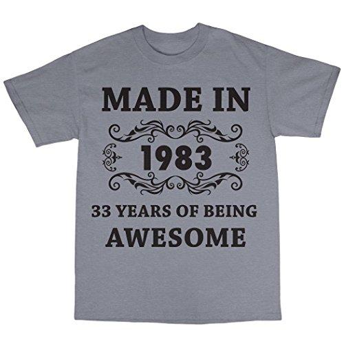 Made In 1983 T-Shirt 100% Baumwolle Grau