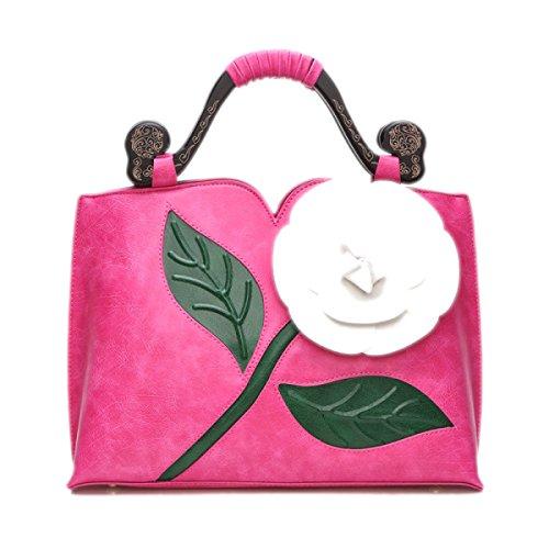 2017 Frau Klassische Große Blume Schlagfarbe Weibliche Paketdamen Schulter Kurierbeutelhandtaschenbeutel Pink