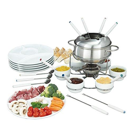 Fondue Set 28-teilig aus Edelstahl - inkl. Gabel, Löffel, Teller, Schälchen und Fondue Topf als Käsefondue oder Fleischfondue für ca. 6 Personen