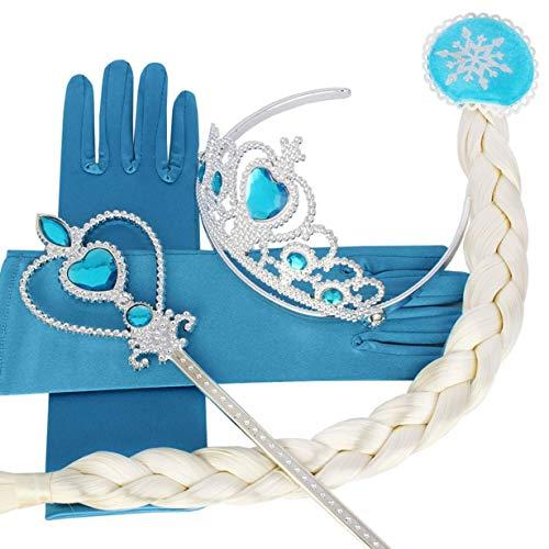 Unitedheart Moderne 4pcs / Set Klassische Schnee Königin Prinzessin Hair Accessories Crown Perücke Zauberstab Handschuh Cosplay Große Geschenke für ()