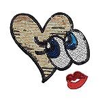 2PCS/set Glitzer Herz Augen & Rot Lippen Iron On Patches Pailletten bestickt abzeichen Aufnäher Patch von sdetter goldfarben