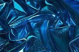 Hochwertiger glänzender Stoff (elastisch, reißt nicht bei Spannung / beim stretchen, hinterlässt keine Brüche, fließend, fällt schön, dennoch griffig): Lamé-Stoff, Glitzerstoff, Metallic, Metall-Stretch, Karnevalsstoff, Faschingsstoff (VE 1,0m) (blau)