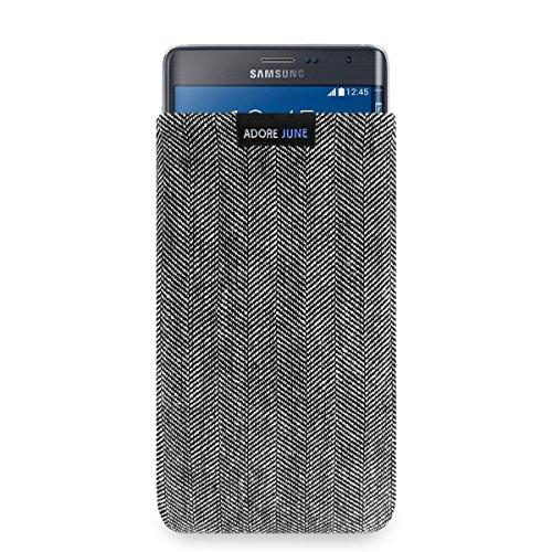 Adore June Business Tasche für Samsung Galaxy Note Edge Handytasche aus charakteristischem Fischgrat Stoff - Grau/Schwarz | Schutztasche Zubehör mit Bildschirm Reinigungs-Effekt | Made in Europe
