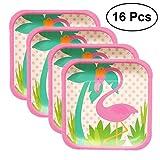BESTOYARD 16 Stücke Flamingo Pappteller Einweg Party Geschirr Set für Hawaiian Sommer Srand Party Supplies (7 Zoll Quadratische Teller)