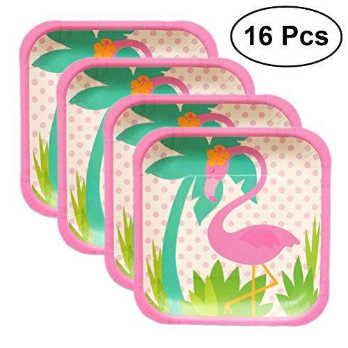 bestonzon 16pcs Hawaii Flamingo Geschirr Set Teller Einweggeschirr für Partys flämischen (7Zoll Quadratisch)