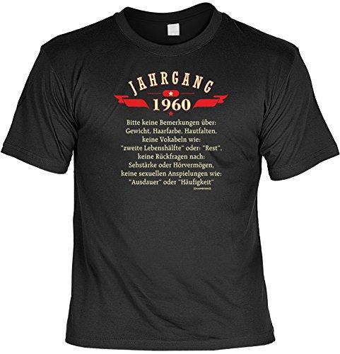 Witziges Geburtstags-Spaß-Shirt + gratis Fun-Urkunde: Jahrgang 1960 bitte keine Bemerkungen über... Schwarz