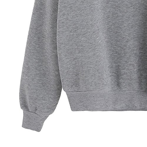 AmazingDays Chemisiers T-Shirts Tops Sweats Blouses,Femme Chemise à Manches Longues Lettre D'Impression Pull-Over gray