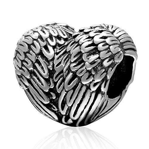 Abalorio de plumas de plata de ley 925 con diseño de ala, colgante de ángel y amor para pulsera Pandora