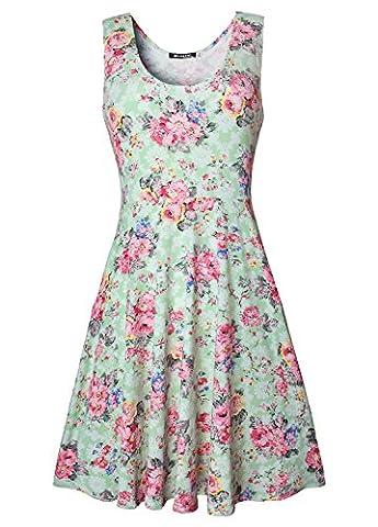 Damen Vintage Sommerkleid Traeger mit Flatterndem Rock