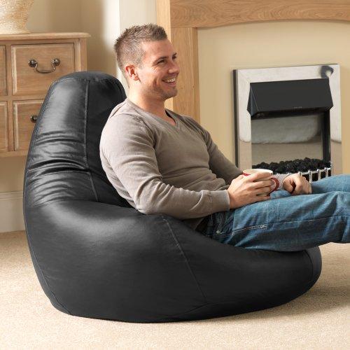 Bean Bag Bazaar® Gaming Sitz Sack Designer Liegesessel SCHWARZ Lederimitat - Extra Large Sitzsack Sessel (Decor Home Faux Leder)