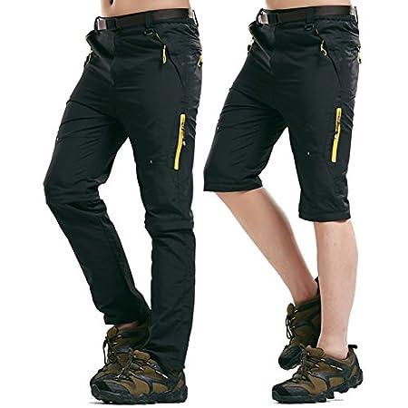 Rmine Trekkinghose Zip Off Atmungsaktiv Wanderhose Outdoor Hose Entfernbar Schnell Trockend (Mit Gürtel)