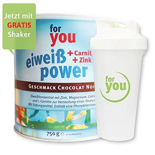 for you Power Eiweiß nach Strunz Chocolat Noir 750g I Fitness Eiweisspulver mit Carnitin Whey-Protein Sojaprotein Milchprotein I Mehrkomponenten Protein Eiweißpulver mit Eiweiss Shaker Becher 700ml