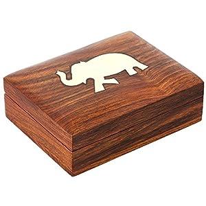 Shalinindia Indischer Elefanten-schmuckkasten – Schwenkbar Holzkästchen 11,4 x 8,2 x 3,1 cm – handgefertigten Schmuckkästchen
