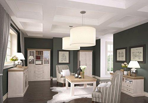 Wohnzimmer Komplett - Set F Badile, 5-teilig, Farbe: Kiefer Weiß / Braun