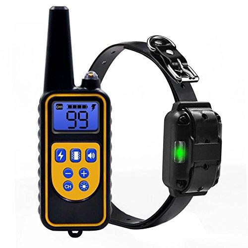 feiledi Trade Pet Dog Training Halsband mit Fernbedienung, 800 Meter Wiederaufladbar Regendicht, Beep/Vibration/Statische Halsband für Ihren Hund (Lcd-training)