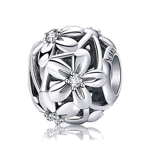 Fiore in argento 100argento sterling 925% fiorente fiori di fascino donne braccialetti con ciondoli e collane gioielli