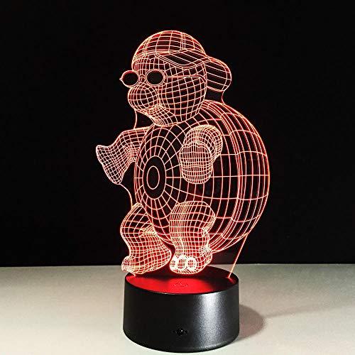 3D Nachtlicht Schildkröte mit Sonnenbrille Lampe 7 Farben Zuhause Dekor Tischleuchte,Optische Illusion LED Nachtlampe USB Tischlampe, für Kinder Weihnachten Geburtstag beste Geschenk Spielzeug