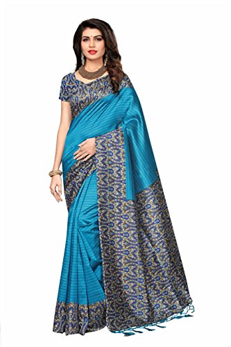 Rangreza Women's Mysore Kallamkari Silk Ocean Blue coloured printed saree embellished with jhalar. (PGZSAREE245)