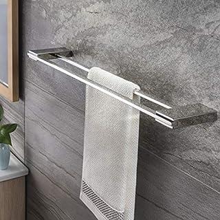 Zunto Porte-serviettes double en acier inoxydable Chromé 60 cm