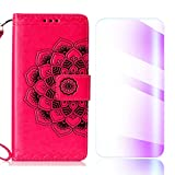 The Grafu Galaxy J6 2018 Case, Flip Leather Cover Card Slot Holder with KickStand and Free Tempered Glass Screen Protector for Samsung Galaxy J6 2018, Rose Red