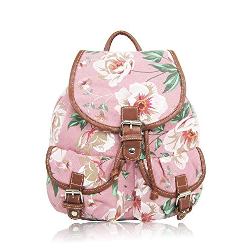 Retro Punkte | Rucksack Blumen Dot Canvas | Vintage Daypack Tasche Groß | Polka Dots Damen | Altrosa