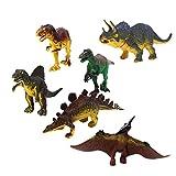 #9: Generic Dinosaur Set Tyrannosaurus Stegosaurus Triceratops Utahraptor Spinosaurus Pterosaur Kids Toy