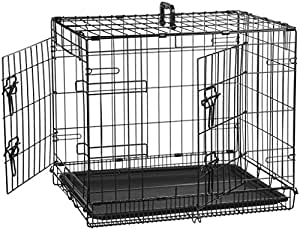 AmazonBasics Double Door Folding Metal Dog Cage with Paw Protector (24x19x18 inches)
