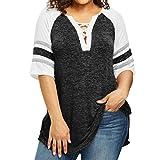 ESAILQ Damen Blusen Chiffon Langarm Tunika mit Reißverschluss Vorne V-Ausschnitt Oberteile T-Shirt (XXXL,Schwarz)