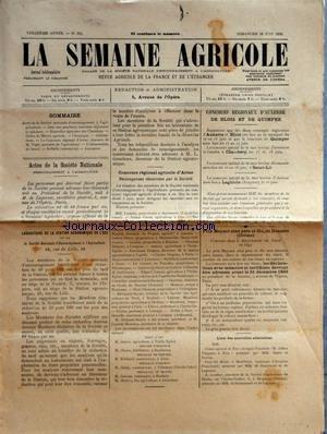 SEMAINE AGRICOLE (LA) [No 631] du 18/06/1893 - ACTES DE LA SOCIETE NATIONALE D'ENCOURAGEMENT A L'AGRICULTURE - M. DE LAGORSSE - LABORATOIRE DE LA STATION AGRONOMIQUE DE L'EST - ORDRE DU MERITE AGRICOLE - CONCOURS GENERAL D'ARRAS - DISCOURS DE M. VIGER - ALIMENTATION DU BETAIL