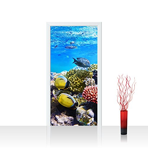 Türtapete selbstklebend 100x211 cm PREMIUM PLUS Tür Fototapete Türposter Türpanel Foto Tapete Bild - Aquarium Korallen Unterwasser Meer Fische Riff Korallenriff Underwater Reef - no. 105