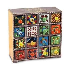 Signes Grimalt - Boite a epices indienne avec 6 tiroirs, multicolore, 27x27 cm64116SG