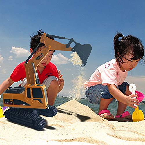 RC Auto kaufen Kettenfahrzeug Bild 4: Elektrischer Bautraktor mit RC Fernbedienung Bagger Modell Spielzeug für Kinder, MMLC 1:24 Bagger Sandkasten Modell Engineering Fahrzeug hohe Simulation Modell Spielzeug Kinder Geschenk (Mehrfarbig)*