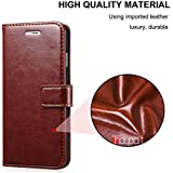 nKarta (TM) Vintage Leather Wallet Flip Book Cover Case For Panasonic Eluga Ray Max - Brown