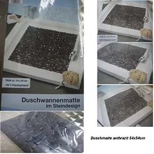 Duscheinlage duschwannenmatte sicherheitseinlage steinoptik quadratisch farbe schwarz ma e - Steinoptik farbe ...