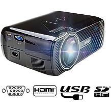 Proyector Mini,Videoproyector Portátil Projector LCD HD 1080P 800*480 Projector TeatroHome Cinema WIMIUS T2 Altavoces Incorporados (Libre de Cable HDMI)-Negro