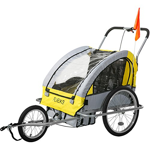 Flieks Kinderanhänger 2 in 1 Fahrradanhänger TRAILER Jogger mit Kupplung 3 Farben NEU (Gelb und Grau)