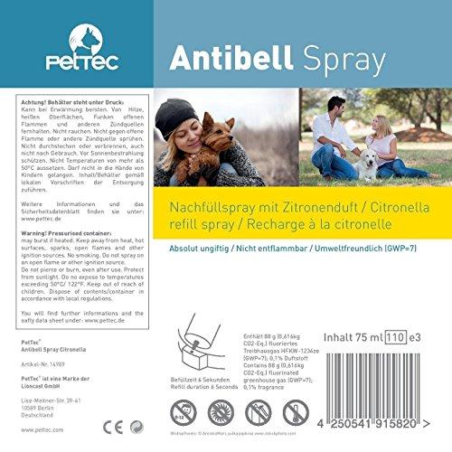 PetTec Antibell Spray Trainer Pro Erziehungshalsband mit automatischer Sprühfunktion inkl. Antibell Spray + 1 Gratisspray - 6