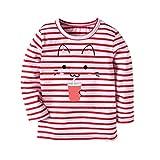JERFER Karikatur KatzeT-Shirt Tops Neugeborene Babykleidung Kleinkind Bluse Kinderbekleidung Babykleider Mädchen Junge Rundhals Langarmshirts 2-7Jahre (Wassermelonenrot, 4T)