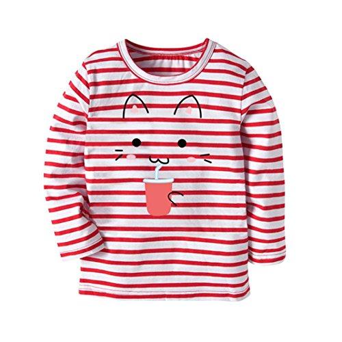 JERFER Karikatur KatzeT-Shirt Tops Neugeborene Babykleidung Kleinkind Bluse Kinderbekleidung Babykleider Mädchen Junge Rundhals Langarmshirts 2-7Jahre (Wassermelonenrot, 3T) (3t-fleece)
