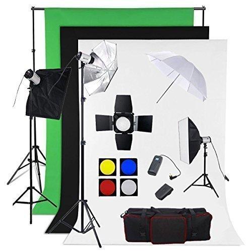 BPS Profi 900W Fotostudio Set Studioleuchte Fotografie Studioblitz Studioset inkl. Abschirmklappe Schirm 3x300W Synchronblitzlampe Hintergrundsystem Stoff(weiß schwarz grün ) Softbox Lampenstativ Funkauslöser Studioklemmen Tragtasche -