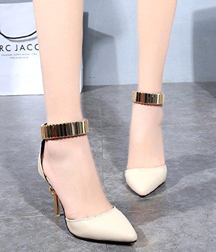 Minetom Damen Mode Pumps Knöchel Gurt Plateau Stilettos Spitz Zehe Schuhe High Heel Sandalen Beige